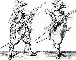 Matchlock - Engraving of musketeers from the Thirty Years' War