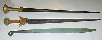 Makhaira - Reconstruction of Mycenaean swords, the bottom one being a makhaira-type sword.