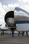 NASA 941 Super Guppy lands to pick up EM-1 Orion Service Module structural test article (KSC-20170623-PH-GEB01 0013).jpg