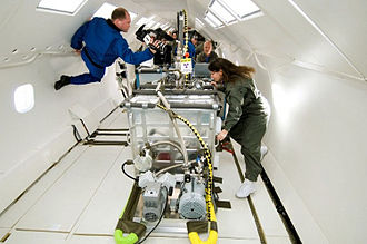 Electron-beam freeform fabrication - NASA engineers test the EBF3 system during a parabolic flight in 2007.