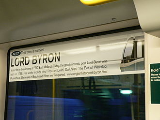 Nottingham Express Transit - All NET trams are named, tram 205 carries the name of Lord Byron
