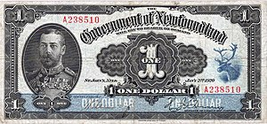 Dominion of Newfoundland - The Newfoundland dollar bill issued in 1920