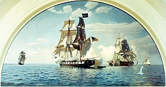Oliver Hazard Perry - Mural: Battle of Lake Erie, 10 September 1813. (1959) by Charles Robert Patterson and Howard B. French, U.S. Naval Academy, Annapolis, Maryland. Niagara joins the battle. Detroit and Queen Charlotte at right.