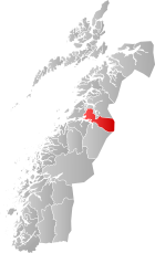 Locator map showing Fauske within Nordland