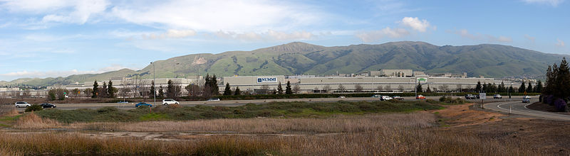 NUMMI plant in Fremont with Mission Peak behind it. (Joint venture between General Motors and Toyota.