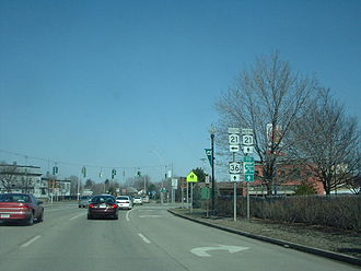 New York State Route 36 - NY 36 north at NY 21 in Hornell