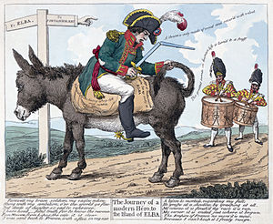 "Hundred Days - The journey of a modern hero, to the island of Elba. Print shows Napoleon seated backwards on a donkey on the road ""to Elba"" from Fontainebleau; he holds a broken sword in one hand and the donkey's tail in the other while two drummers follow him playing a farewell(?) march."