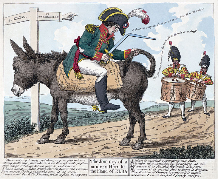 "Print shows Napoleon I seated backwards on a donkey on the road ""to Elba"" from Fontainebleau; he holds a broken sword in one hand and the donkey's tail in the other while two drummers follow him playing a farewell(?) march. Includes twelve lines of verse."