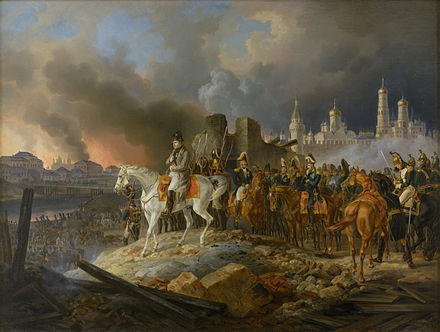 Napoleon watching the fire of Moscow in September 1812 Napoleon in burning Moscow - Adam Albrecht (1841).jpg