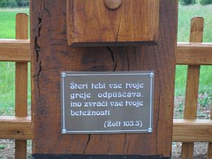 Psalm 103 - Psalm 103:3 on a cross in the village of Kétvölgy, Hungary.