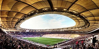 Schlaich Bergermann Partner - Mercedes-Benz Arena interior panorama
