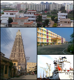 Nellore Montage Clockwise from top left: Nellore City View, Narayana Colleges, A Ship at Krishnapatnam Port, Gopuram of Sri Ranganathaswamy Temple, Nellore