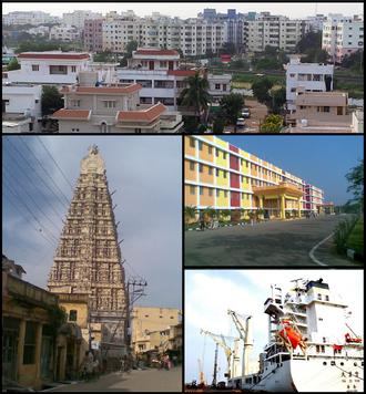 Nellore - Nellore Montage Clockwise from top left: Nellore City View, Narayana Colleges, A Ship at Krishnapatnam Port, Gopuram of Sri Ranganathaswamy Temple, Nellore