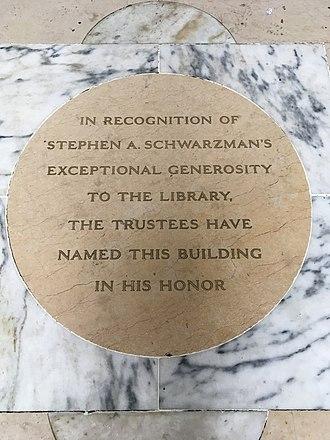 Stephen A. Schwarzman - plaque in New York City, New York, USA honoring Stephen A. Schwarzman contributions