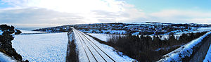 Newtonhill - Newtonhill village in the snow taken from the railway bridge to the north of the village