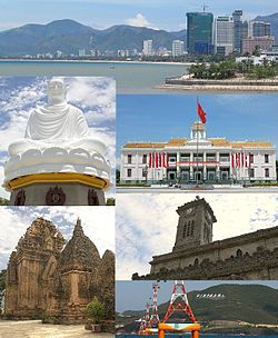 Clockwise, from left to right: Nha Trang Coastline, Long Sơn Pagoda, City Hall, Po Nagar Tower, Christ the King Cathedral, Vinpearl Cable Car