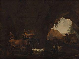 Grotte avec bergers et bétail