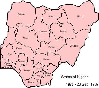 States of Nigeria - Image: Nigeria states 1976 1987