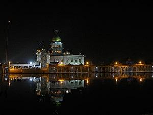Gurudwara Bangla Sahib - Night view of Gurdwara Bangla Sahib and the Sarovar.
