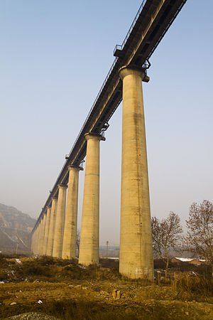Nanjing–Xi'an Railway - The Nanjing–Xi'an Railway over the You River near Weinan in Shaanxi Province.