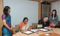 Nirmala Sitharaman and the Minister of Energy and Industry of Kyrgyzstan, Mr. Kubanychbek Turdubaev signing the protocol of the 7th Session of India-Kyrgyzstan Inter Governmental Commission on Trade, Economic.jpg