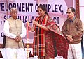 Nirmala Sitharaman lighting the lamp for inauguration of the Integrated Development Complex of Land Custom Station, at Srimantapur, Sepahijala district, in Tripura. The Chief Minister of Tripura.jpg