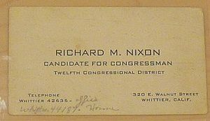 California's 12th congressional district election, 1946 - Nixon business card as congressional candidate