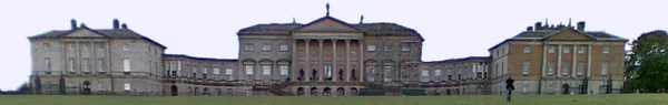 The North Front of Kedleston Hall main house with two flanking houses