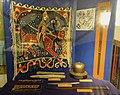 Norwegian viking and medieval sword, spear, 12-c. helmet, tapestry c. 1150. (Vikingsverd, jernhatt, spyd, kastestein, Baldisholteppet). Armed Forces Museum of Norway (Forsvarsmuseet), Akershus Fortress, Oslo. Photo 2019-03-31 DSC01.jpg