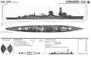 Leipzig-class cruiser - Recognition drawing of Nürnberg