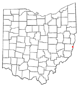 Location of Bellaire, Ohio