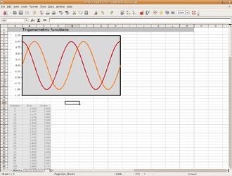 Grid view - Screenshot of OpenOffice.org Calc.