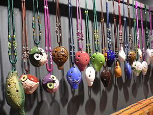 Vessel flute - Ocarinas on display at a shop in Taiwan
