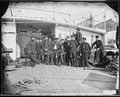 """Officers on deck of gunboat """"Commadore Barney"""" - NARA - 526380.tif"""