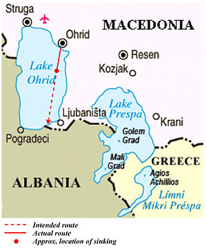 2009 Lake Ohrid boat accident - Approximate location of sinking in Lake Ohrid