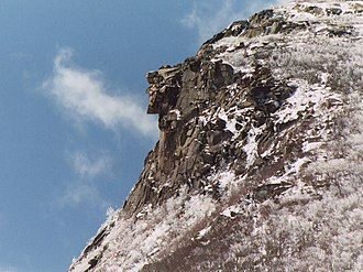 Old Man of the Mountain - Old Man of the Mountain on April 26, 2003, seven days before the collapse.