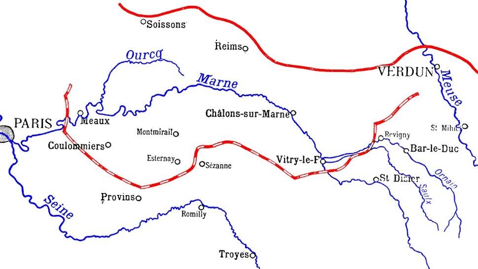 Opposing positions 5 September (dashed line) 13 September (black line)