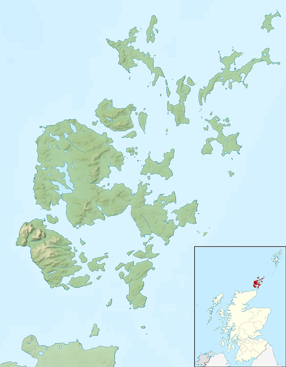 Orkney Islands UK relief location map