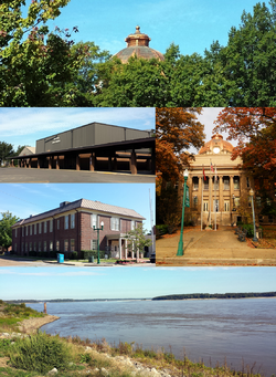 Clockwise from top: Mississippi County Courthouse copper dome is visible among mature trees as seen from the Hale Avenue Historic District, the courthouse grounds and main entrance, the Mississippi River at Sans Souci landing, Mississippi County Library, Osceola High School