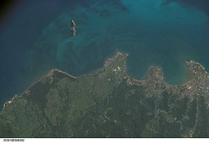 Ilhéu das Cabras - Satellite photo of the northern part of the island of São Tomé along with Ilhéu das Cabras