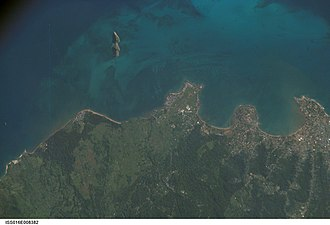 Ilhéu das Cabras - Satellite photo of the northern part of the island of São Tomé with Ilhéu das Cabras