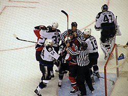 A fight during the game between the Ottawa Senators and the Tampa Bay Lightning in the 2006 Stanley Cup playoffs.