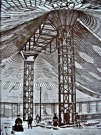 All-Russia Exhibition 1896 - The world's first steel tensile structure by Shukhov (during construction), Nizhny Novgorod, 1896