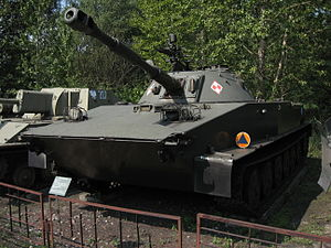 PT-76 amphibious light tanks at the Muzeum Polskiej Techniki Wojskowej in Warsaw (2).jpg