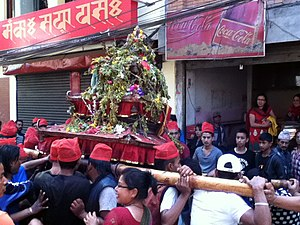 Pahan Charhe - Participants carry a portable shrine on their shoulders during Pahan Charhe.