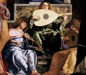 San Giobbe Altarpiece - Detail of the musician angels.