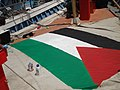 Palestinian flag on the sail of the Free Gaza boat.jpg