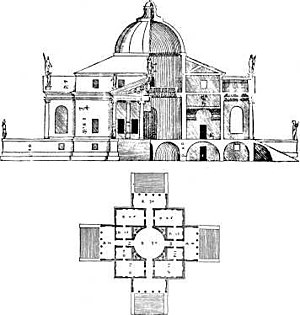 Palladian architecture - Plan for Palladio's Villa Rotonda. Features of the house were to become incorporated in numerous Palladian style houses throughout Europe over the following centuries.