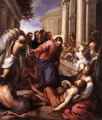 Healing the paralytic at Bethesda - Christ healing the paralytic at Bethesda, by Palma il Giovane, 1592.