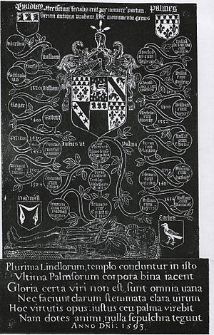 Brass rubbing - Brass rubbing of a memorial showing the alliance of the Lindley and Palmes family, Otley Church, West Yorkshire